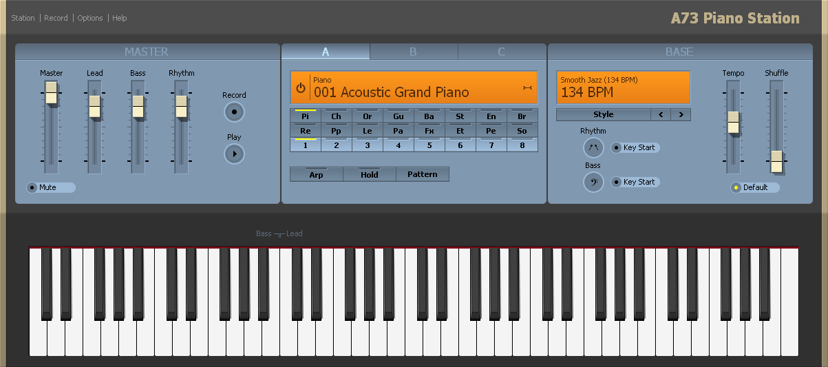 A fun to play virtual piano, synth, and band.